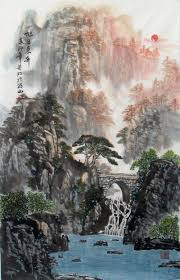 Riverside Mountain Landscape Chinese Ink Brush Painting 6096cm Wall Scroll Rising Japanese
