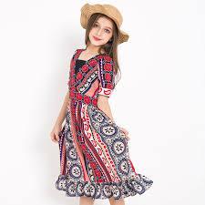 Bohemian Style Beach Dress Girls Summer Cool Cothing Teenager Sundress Children Kids Party Princess
