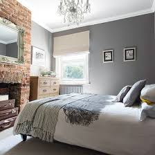 Exposed Brick Wall Grey Bedroom