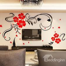 53 Gorgeous Floral And Butterfly Pattern Living Room 3D Wall Sticker