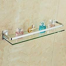 axentia wandablage aus glas mit verchromter fassung als badregal wandregal bad wc badablage für spiegel waschbecken glasregal 50 cm