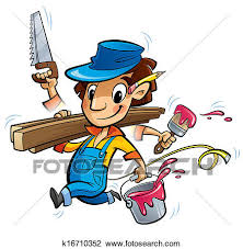 Clip Art Busy cartoon carpenter character doing many things at same time Fotosearch
