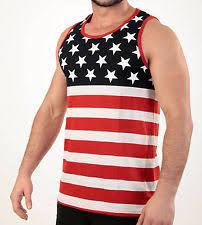 FLAG TANK TOP AMERICAN PRIDE STARS AND STRIPES SLEEVELESS TEE SHIRT