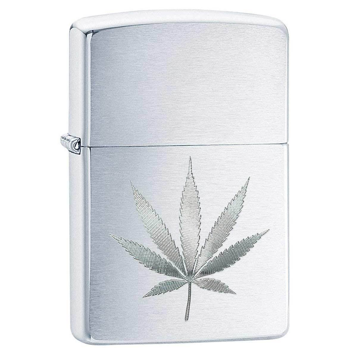 Zippo Brushed Chrome Marijuana Leaf Pocket Lighter