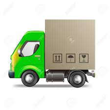100 Truck Shipping Delivery Package From Online Web Shop Stock Photo
