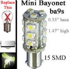 volt led bulbs 15 smd ba9s miniature single bayonet base