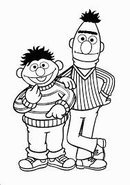 Bert And Ernie Smile Coloring Pages For Kids Printable Sesame Street