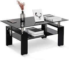 dadea gehärtetes glas chrom wohnzimmer couchtisch schwarzer moderner rechteckiger teetisch mit unterem regal und holzbeinen hochglanz schwarz 8 mm