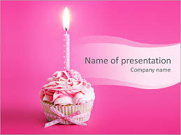 Cupcake With Candle PowerPoint Templates