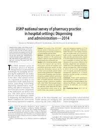 Automated Dispensing Cabinets Comparison by Ashp National Survey Of Pharmacy Practice In Hospital Settings