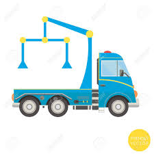 100 Tow Truck Vector Cartoon Transport Illustration View From Side