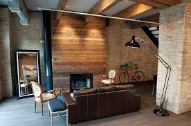 Living Room With Wood Panels Exposed Brick Walls And Interesting Decor Design Moss