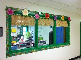 Decorated Hallway Window Looking Into The Classroom