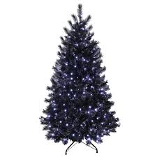 3 Fiber Optic Tabletop Christmas Tree by 7ft Black Glitter Pine Artificial Prelit Bright White Lights