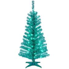 4ft Green Pre Lit Christmas Tree by National Tree Company 4 Ft Turquoise Tinsel Artificial Christmas