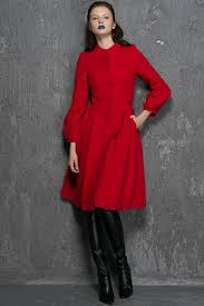 red wool coat winter coat fit and flare coat red coat