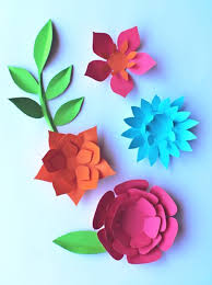 DIY Paper Flowers Pattern Feathers Leaves