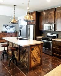 View In Gallery Wood Clad Kitchen With Modern And Industrial Chic Accents