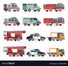 Flat Emergency Vehicles Royalty Free Vector Image