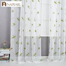 Embroidered Curtains Green Sheer Fabrics Tulle Curtain Window Treatment Rustic Living Room Bedroom Modern Kitchen