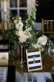 Black And Gold Wedding Decorations Outdoor Table Setting White Number