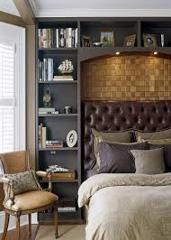 BedroomsModern Victorian Style Bedroom With Brown Bed Feat Tufted Headboard And Black Wall Shelves