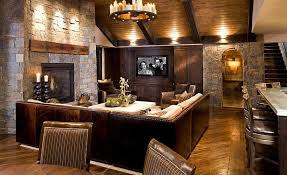 Rustic Living Room With Reclaimed Timber Wood Flooring Natural Stone Wall