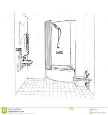 grafische skizze ein badezimmer stock abbildung