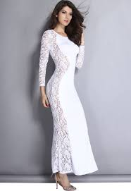ladies white lace maxi dress with fish tail detail