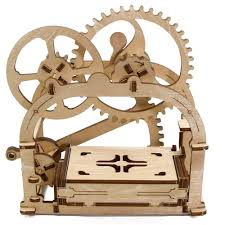 free shipping 1piece 3d wooden puzzle mechanical box card holder