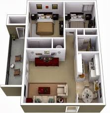 104 Two Bedroom Apartment Design Small Plans And 3d