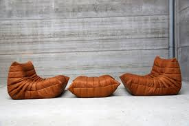 100 Lignet Rose Vintage Cognac Leather Togo Living Room Set By Michel Ducaroy For