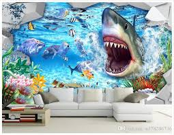 großhandel 3d fototapete benutzerdefinierte wandbilder tapete wandbild 3d shark 3d unterwasserwelt hintergrund wandbild wandbilder wohnzimmer tapete