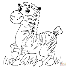 Cute Baby Zebra Coloring Page
