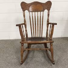 Vintage Oak Rocking Chair - Child's Pressed Back Spindle & Patterned ...