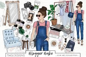 Fashion Girl Blogger Clip Art Illustrations Creative Market