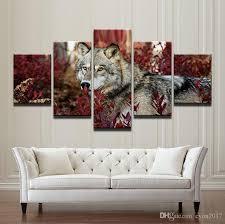 großhandel moderne leinwandbilder wohnzimmer wand kunst 5 stück tierkatze wolf hund plakat husky meow malerei gedruckt wohnkultur rahmen a024