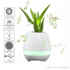 Smart Music Flower Pots Bluetooth Speakers Home Office Decor Planter Plant Night Light Creative Flowerpots Toys