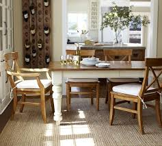 Pottery Barn Aaron Upholstered Chair by Keaton Extending Dining Table French White Pottery Barn