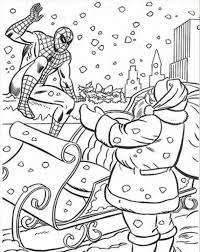 Santa Christmas Coloring Pages Claus Intended For Spider Man