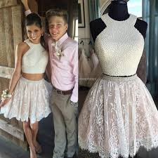 lace two piece short prom dresses 2017 halter beading pearls