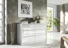 sleen kommode sideboard 6 schubladen weiß hochglanz 140 cm