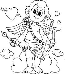 Cute Little Cupid Is Prepared For Valentines Day Coloring Page