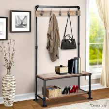 Rustic Hook Coat Shoe Rack Hanger Stand Clothes