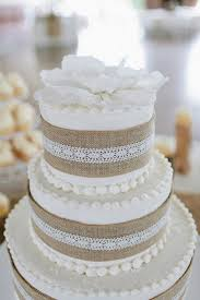 Rustic 2015 Burlap Lace Wedding Cake Ideas