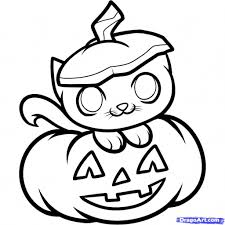 Scary Halloween Coloring Pages By Cat Drawing Drawings