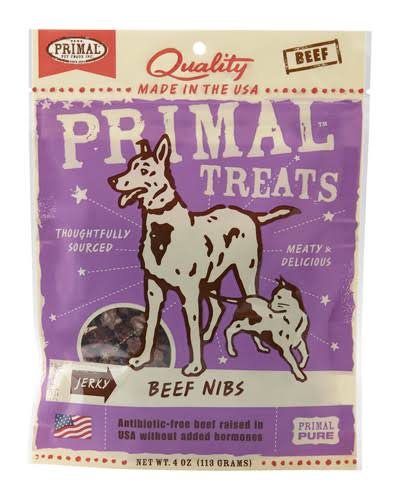 Primal Pet Treats - Beef Nibs, 4oz, for Cats and Dogs