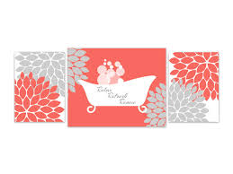 Coral Colored Decorative Items by Bathroom Wall Art Coral Bathroom Decor Instant Download