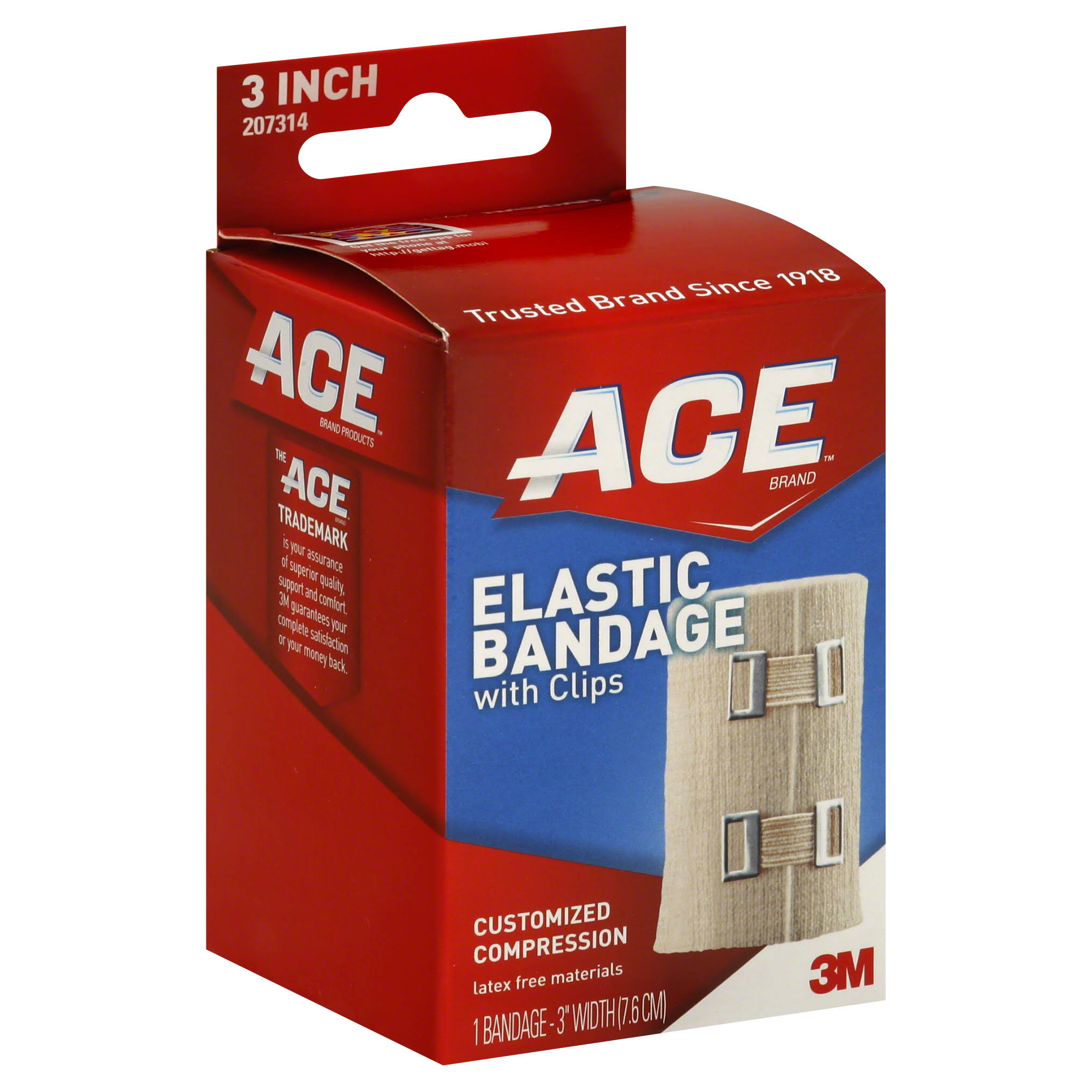 Ace Elastic Bandage - with Clips, 3""