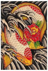 Lifes Journey By Clark North Tattoo Art Print Japanese Asian Koi Fish Flower